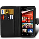 HTC Desire 620 (Also for HTC Desire 620G Dual SIM) Premium PU Leather Wallet Flip Skin Case Cover in BLACK with Capacitive STYLUS Touch Screen Pen, Screen Protector and Polishing Cloth