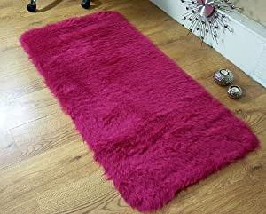 Deep red faux fur sheepskin style rug double 70 x 140 cm washable by Rugs Supermarket