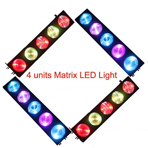 Yiscortm Stage Lighting Cree Led Light 5Lens 10W Rgb 3In1 Dmx512 Matrix For Xmas Christmas Birthday Home Garden Party Club Disco Effect (Pack Of 4)