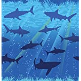 "Creative Converting Shark Splash Plastic Tablecover, Rectangle, 54"" x 108"""