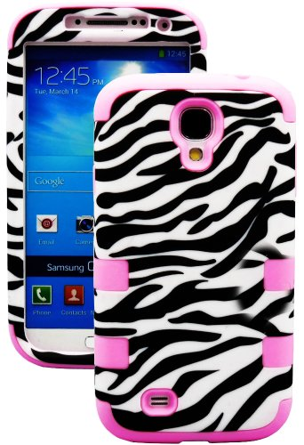 """Mylife (Tm) Bubblegum Pink - Zebra Stripes Print Design (3 Piece Hybrid) Hard And Soft Case For The Samsung Galaxy S4 """"Fits Models: I9500, I9505, Sph-L720, Galaxy S Iv, Sgh-I337, Sch-I545, Sgh-M919, Sch-R970 And Galaxy S4 Lte-A Touch Phone"""" (Fitted Front"""