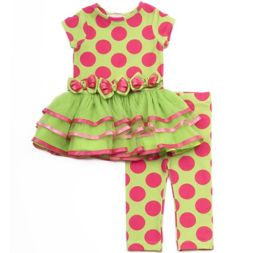 Size-24M Rre-61612F, 2-Piece Lime-Green/Pink Triple Dot Print Tutu Legging Outfit Set, Rare Editions Infant, F161612 front-1012257