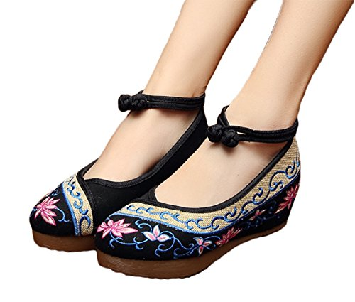 AvaCostume Old Beijing Womens Embroidery Summer Sandals Comfortable Casual Walking Shoes, Black, 39