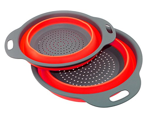 TedGem 2 Pack Collapsible Colanders Set, Silicone BPA Free Compact Kitchen Food Folding Strainer Steamer, Color at Random (Colander Steamer compare prices)