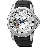 Seiko Premier Automatic White Dial Black Leather Mens Watch SSA245