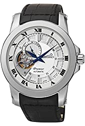 Seiko Premier Automatic White Dial Black Leather Mens Watch SSA245