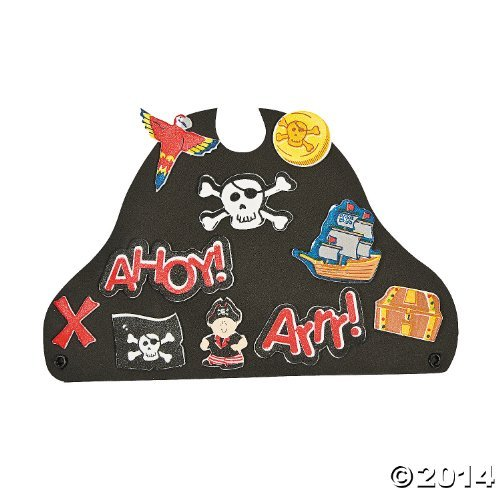 "12 ~ Foam Pirate Hats with Stickers ~ Includes Vinyl Expandable Coil Bands and 426 Self-adhesive Foam Shapes ~ Approx. 9 1/2"" X 6"" ~ New"