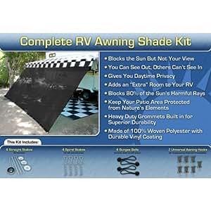 RV Awning Shade Kit 8x14 Complete RV Shade Kit (Black)
