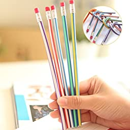 10PCS Colorful Folding Soft Pencil With Eraser Stationery