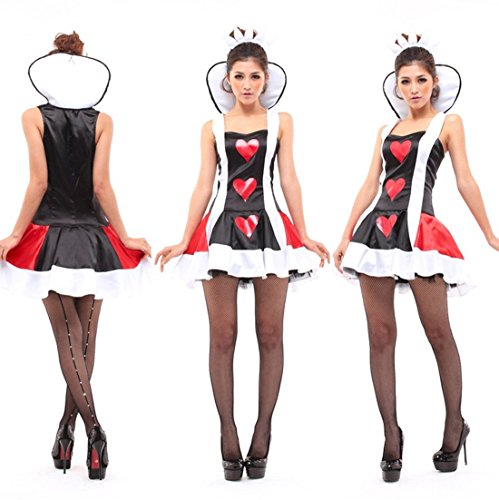 Alice in Wonderland Heart Queen Poker Cosplay Dress Costume