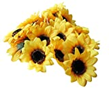 "Colorfulife Artificial Silk Sunflower Head 2.8"" Simulation Flower Beautiful Wedding Home Party Decor Hair Decorative (100)"