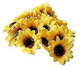 "Colorfulife Artificial Silk Sunflower Head 2.8"" Simulation Flower Beautiful Wedding Home Party Decor Hair Decorative (100)"