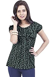 Zovi Crepe Green Printed Top With Tie-up Detail (10952600701_Large)