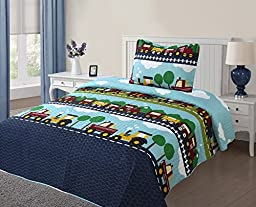 GorgeousHome **Different Designs** New Kids Twin 2 PC Soft Printed Quilt Bed Spread Pillow Case Set For Girls & Boys (#4 Cars)