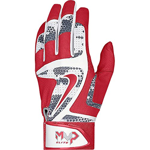 Nike MVP Elite Adult Baseball Batting Glove GB0401 White/University Red/Wolf Grey (XL) (Customized Nike Elites compare prices)