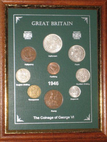 Framed 1946 Coin Year Gift Set (67th Birthday Present or Wedding Anniversary)