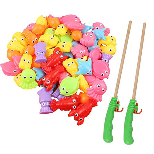 25 Pieces Cute Fish Moving Eyes Bath Fishing Toys & 2 Pieces 30cm Bamboo Wood Magnetic Fishing Poles Playset (Moving Fish compare prices)