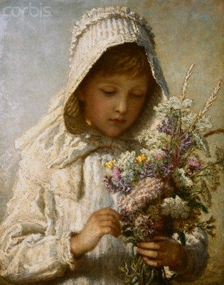 Wallmonkeys Peel and Stick Wall Decals - The Month of September: a Young Girl in White Holding a Bunch of Flowers by Carl Wilhelm Friedrich Baurerle - 18