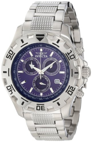 Invicta Specialty Men's Quartz Watch with Blue Dial Chronograph Display and Silver Stainless Steel Bracelet 6414