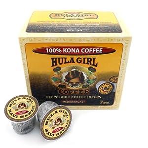 Hula Girl 100% Kona Coffee Single Servings - K-Cup 7 Pack