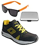Spot On Men's Dark Grey Yellow Running Shoes With Lotto Sunglasses And Cardholder Combo UK-8