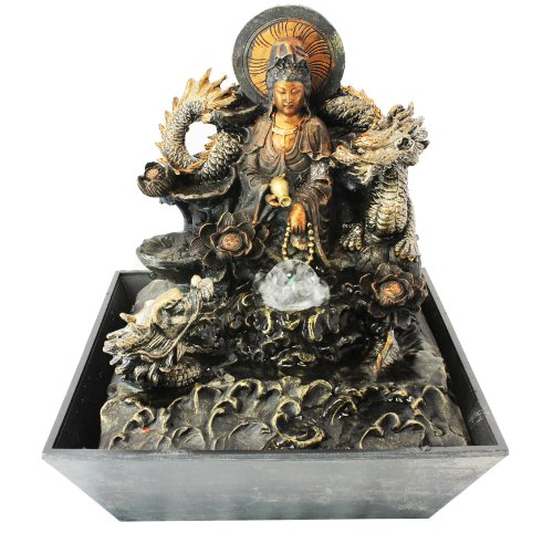 Buddha with Dragon LED Indoor Tabletop Water Fountain