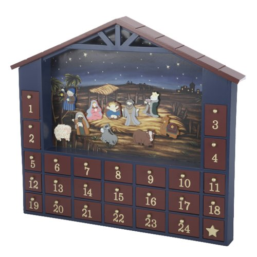 ... House Shaped Nativity Advent Calendar Tablepiece or Wall Hanger Set