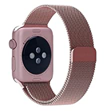 buy Apple Watchband, Perman Milanese Magnetic Loop Stainless Steel Watch Band Strap For Apple Watch 38Mm Rose Gold
