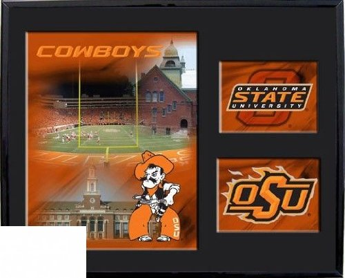 Racing Reflections Oklahoma State Cowboys 11 X 14 Black Matted Mylar Framed Logo Wall Hanging