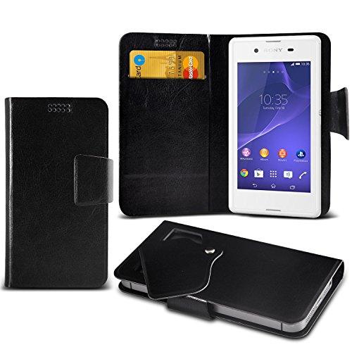 ( Black ) Sony Xperia E3 Dual Sim Protective Stylish Fitted Super Thin Faux Leder Saugnapf Tasche Case Cover Skin mit Kredit- /Debitkarte Steckplätze von ONX3