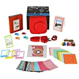 Fujifilm Instax Mini 8/8+ Instant Camera Bundle Gift Box 10 Types of Accessories- RASPBERRY Mini 8/8 Plus Case, 2 Albums, Selfie Lens, 4 Color Filters, 5 Frames, 10 Wall Hang Frames,60 Stickers & More