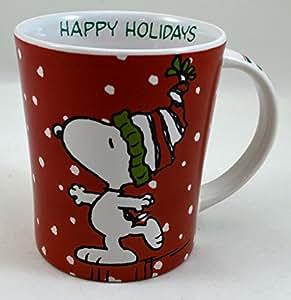 Amazon.com: Peanuts Comic Christmas Holiday Coffee Mug: Snoopy Happy