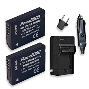 2 Pack Power2000 BCG-10 Batteries and Charger (Includes 2-1200mAh batteries and pocket charger) for the Panasonic Lumix DMC-G10 , DMC-TZ10, DMC-TZ10K, DMC-TZ10N, DMC-TZ10R, DMC-TZ10S, DMC-TZ6, DMC-TZ7, DMC-TZ8, DMC-ZR1, DMC-ZR1A, DMC-ZR1K, DMC-ZR1R, DMC-Z