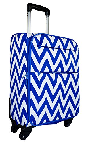 Ever Moda Spinner Luggage Carry On, Royal Blue Chevron