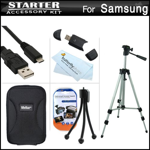 Starter Accessories Kit For The Samsung Dv300F Dualview Digital Camera Includes Deluxe Carrying Case + 50 Tripod With Case + Micro Usb Cable + Usb 2.0 Card Reader + Lcd Screen Protectors + Mini Tabletop Tripod + Microfiber Cleaning Cloth