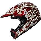 Kids ATV Motocross Helmet DOT 198 Wine Red/Flame Size Medium