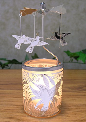 Frosted Glass Candle Holder With Spinning Humming Birds Silver Metal Scandinavian Style Carousel