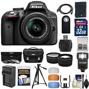 Nikon D3300 Digital SLR Camera & 18-55mm G VR DX II AF-S Zoom Lens with 32GB Card + Battery & Charger + Case + Tripod + Flash + Tele/Wide Lens Kit