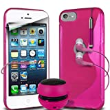 Fone-Case Apple iPod Touch 5, 5th Generation Protective Hydro S Line Wave Gel Silicone Skin Case Cover With Mini Capacative Retractable Stylus Pen, 3.5mm In Ear Earphones, Mini Rechargeable Capsule Speaker & LCD Screen Protector Guard (Hot Pink)