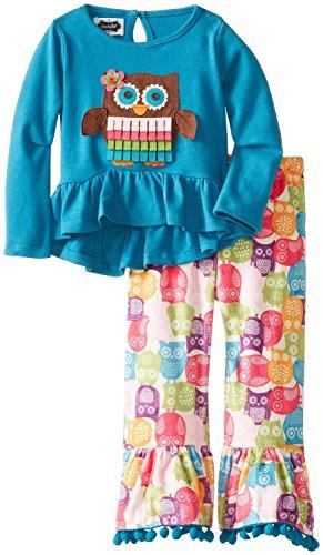 Mud Pie Girls Forest Friends Owl Disco Pants Set, 12-18 Months front-541063