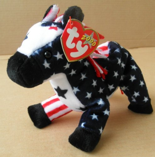 TY Beanie Babies Lefty 2000 the Donkey Stuffed Animal Plush Toy - 7 inches long - American Flag Design - 1