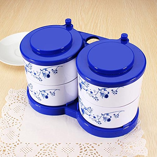Food-grade Plastic Blue-and-White Porcelain Seasoning Box Spice Jar. (Thermos Soup Container With Spoon compare prices)