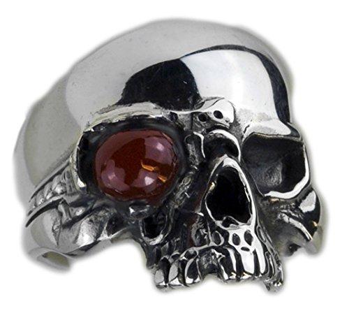 Grave anello teschio in argento Sterling ossidato, Argento, 24