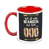 HomeSoGood Not All Who Wander Are Lost White Ceramic Coffee Mug - 325 ml