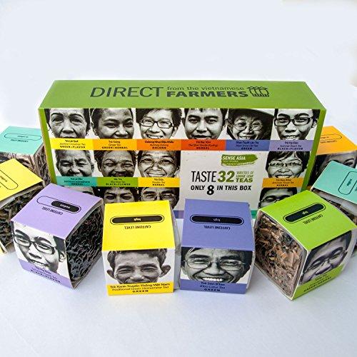 TEA from FARMERS, 8 Flavors Loose Leaf Green Teas: Green Tea, Herbal Tea, Flower Tea, Jasmine Tea