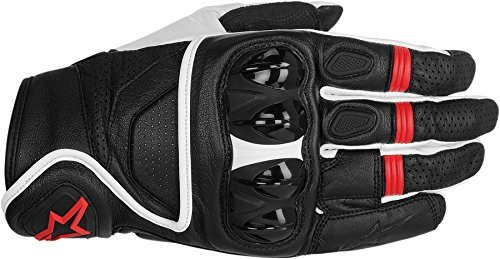 NEW ALPINESTARS CELER ADULT LEATHER GLOVES, BLACK/WHITE/RED, LARGE/LG