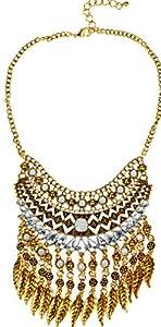 Btime New 2015 Fashion Bohemian Resin Inlay Leaf Shape Tassel Pendant Necklace(gold)