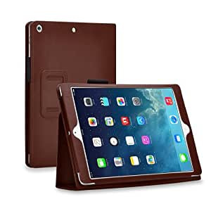 TNP iPad Mini Case (Brown) - Slim Fit Synthetic Leather Folio Case Stand with Smart Cover Auto Sleep & Wake Feature and Stylus Holder for Apple iPad Mini 3 & iPad Mini 2