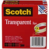 Scotch® Transparent Tape 600-2P34-72, 3/4-inch x 2592 Inches, 2-Pack