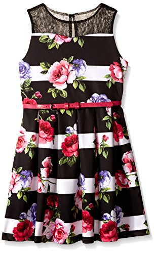 Pippa & Julie Big Girls Stripe and Floral Print Dress, Multi, 12